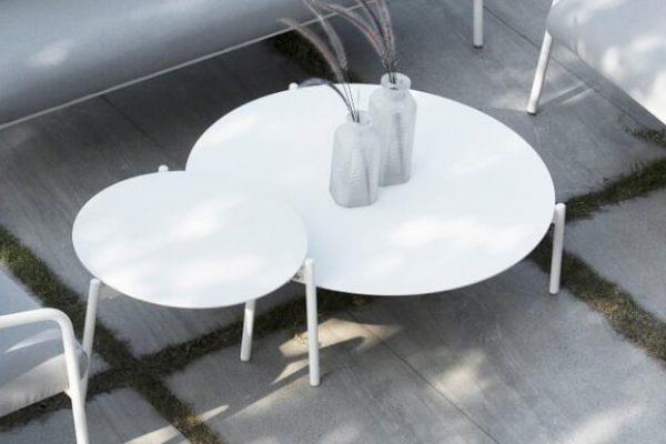 Ambience ogrodowy stolik kawowy aluminium biały duży L, średni M | Twoja Siesta