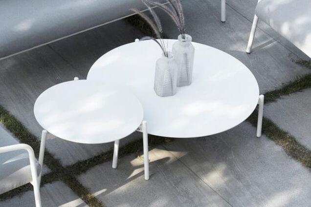 Ambience ogrodowy stolik kawowy aluminium biały duży L, średni M   Twoja Siesta