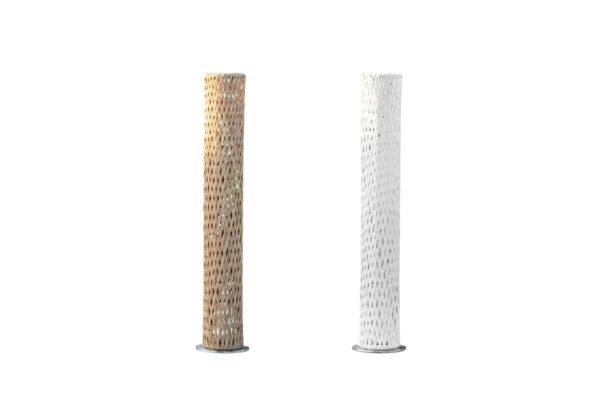 Colona technorattanowa wysoka lampa ogrodowa ledowa 155 cm biała orzechowa Twoja Siesta luksusowe meble ogrodowe
