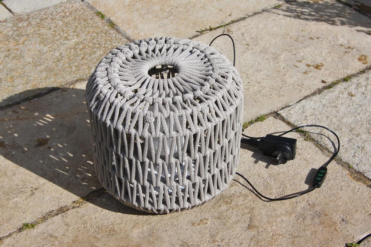 Durum lampa ogrodowa LED z grubej liny jasnoszara pleciona lampa do ogrodu mała Twoja Siesta oświetlenie ogrodowe