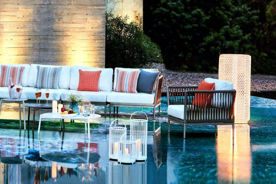 Silo wysoka lampa ogrodowa LED technorattanowa biała 130 cm duża lampa led ogród Twoja Siesta luksusowe meble ogrodowe