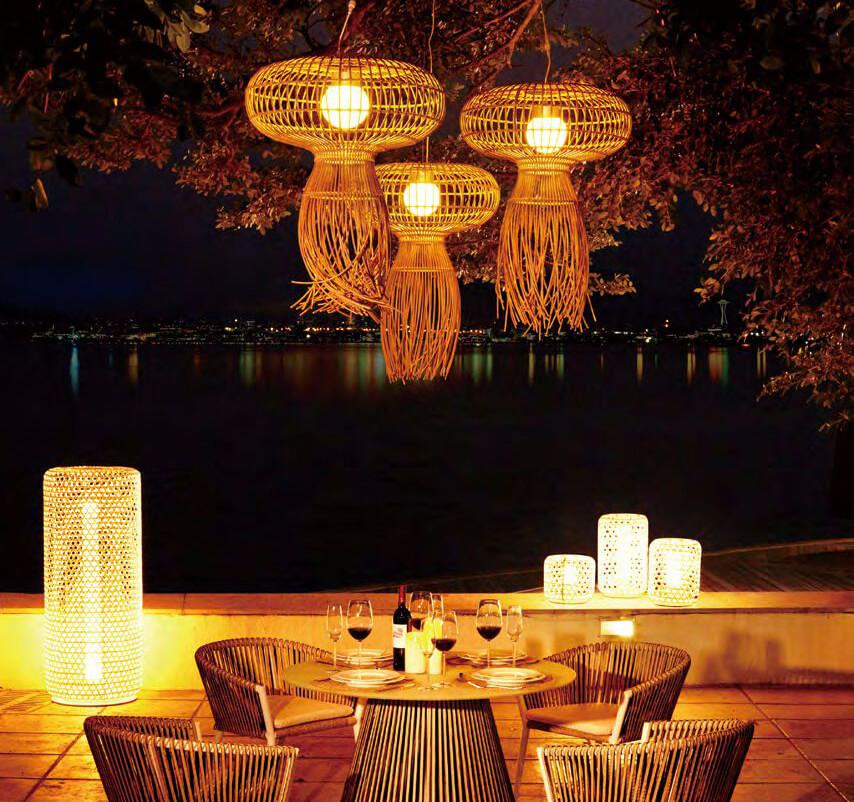 Silo wysoka lampa ogrodowa LED technorattan 130 cm lampa wysoka LED Twoja Siesta luksusowe meble ogrodowe technorattan