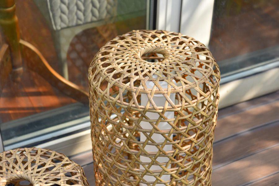 Spelt lampa ogrodowa LED lampion technorattan orzechowy jasny naturalny Twoja Siesta luksusowe meble ogrodowe