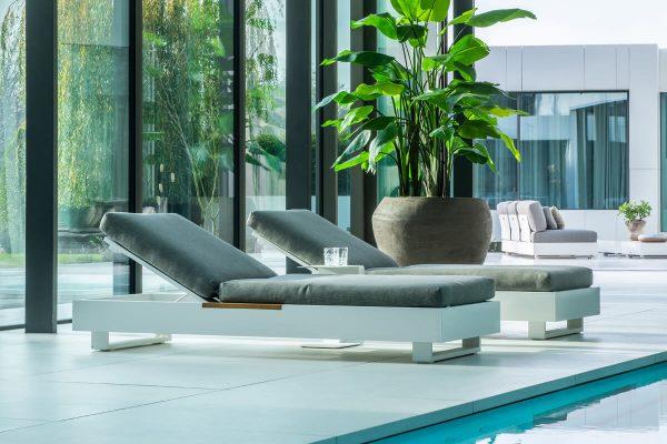 Bari luksusowy leżaki ogrodowe aluminium białe | Jati & Kebon