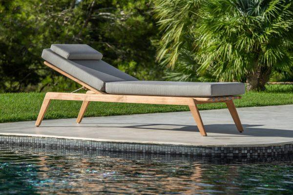 Ritz designerski leżak ogrodowy drewno teakowe | Jati & Kebon
