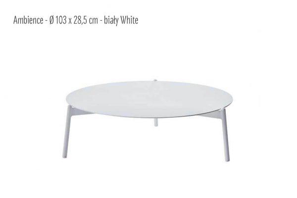 Ambience ogrodowy stolik kawowy z aluminium biały duży 103 cm| Twoja Siesta