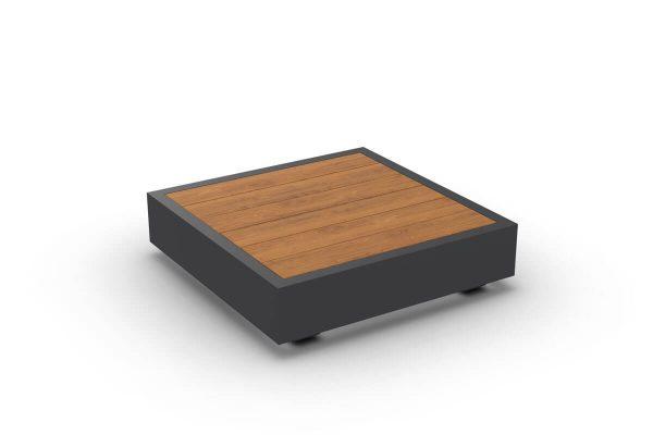 Bari kwadratowy stolik kawowy do ogrodu aluminium antracytowe drewno teakowe Jati & Kebon