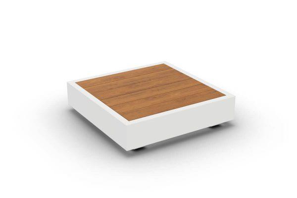 Bari kwadratowy stolik kawowy do ogrodu aluminium białe drewno teakowe Jati & Kebon