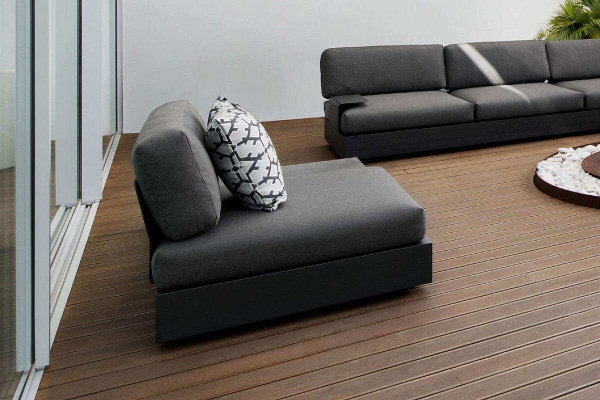 Bari moduł podstaw 1 osobowa aluminium antracytowy fotel ogrodowy poduszki ogrodowe Jati & Kebon