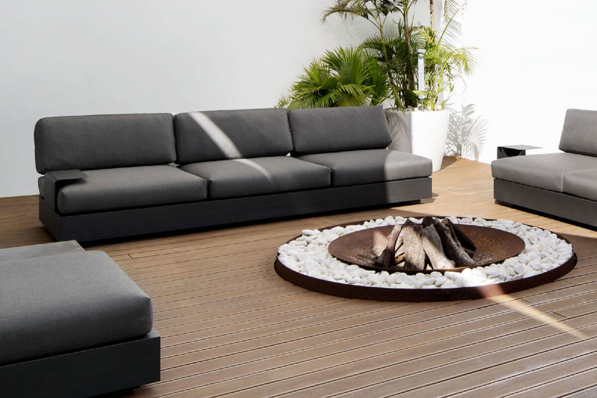 Bari moduł podstawa 3 osobowa aluminium antracytowe sofa potrójna   Jati & Kebon