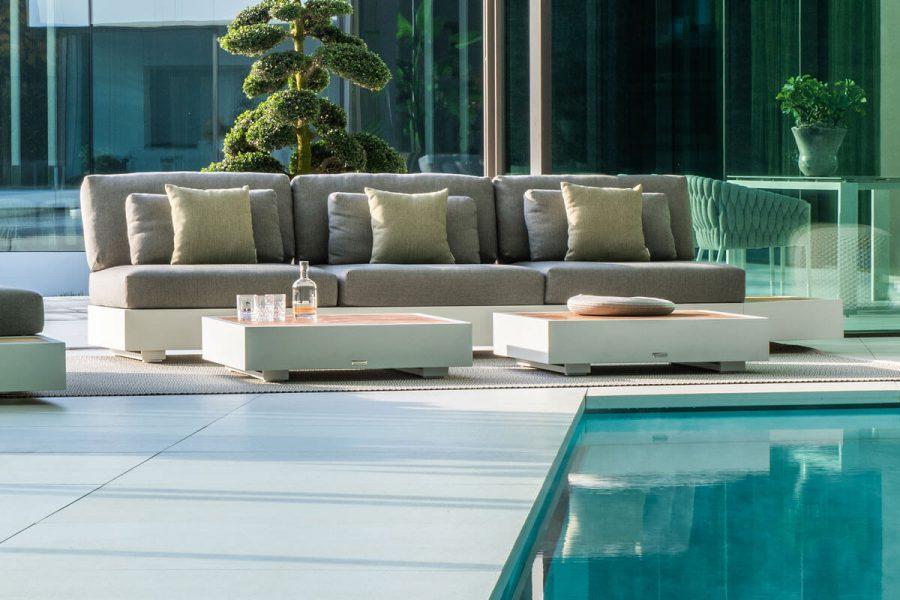 Bari moduł podstawa 3 osobowa aluminium białe sofa potrójna stoliki kawowe   Jati & Kebon