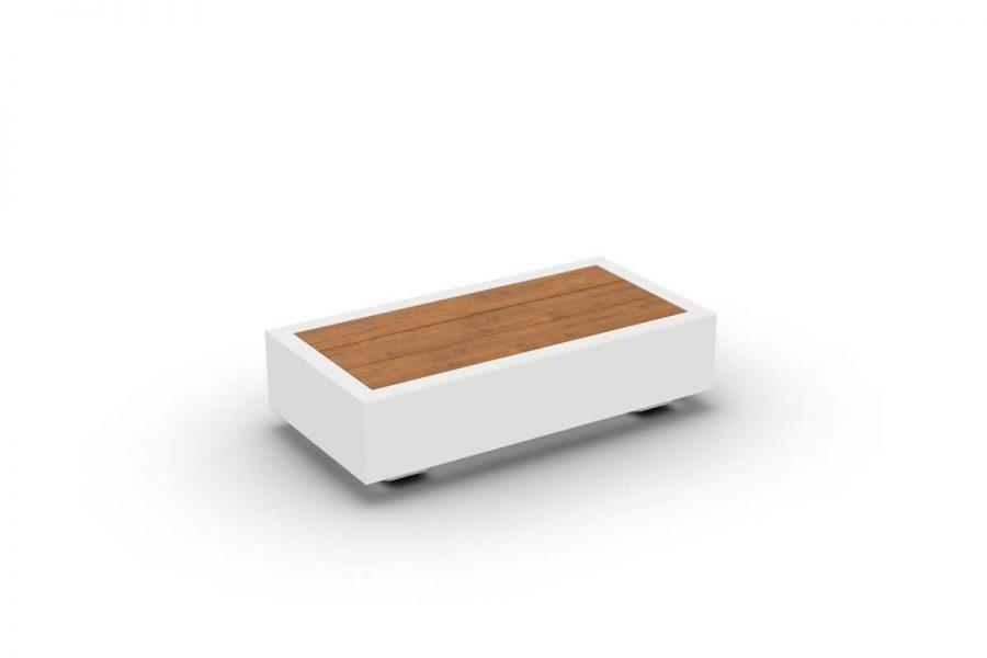 Bari prostokątny stolik kawowy do ogrodu aluminium białe drewno teakowe stolik boczny Jati & Kebon