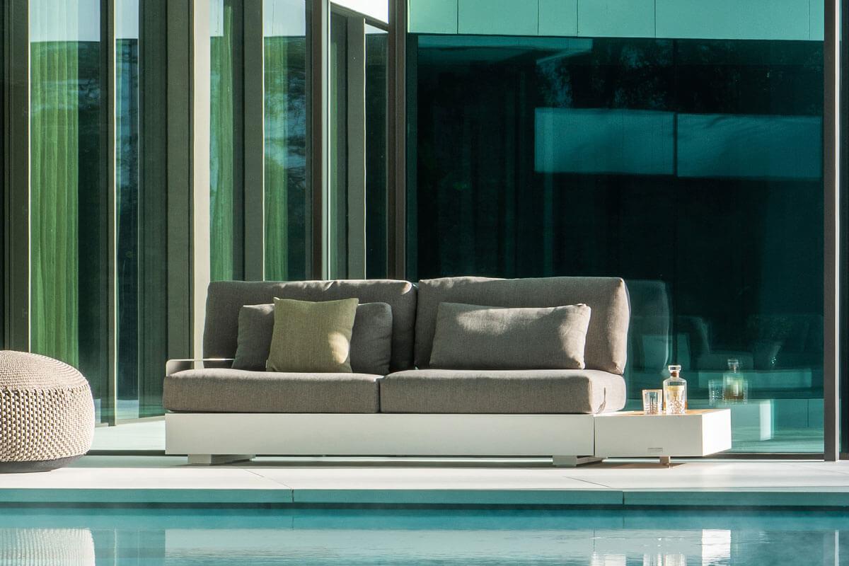 Bari prostokątny stolik kawowy do ogrodu aluminium białe drewno teakowe stolik boczny sofa ogrodowa Jati & Kebon
