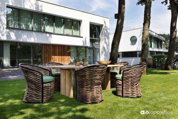 Cocoon ekskluzywny zestaw obiadowy z technorattanu stół i krzesła | Apple Bee