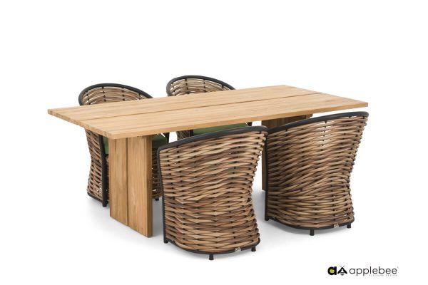Cocoon ekskluzywny zestaw obiadowy z technorattanu stół i 4 krzesła ogrodowe | Apple Bee
