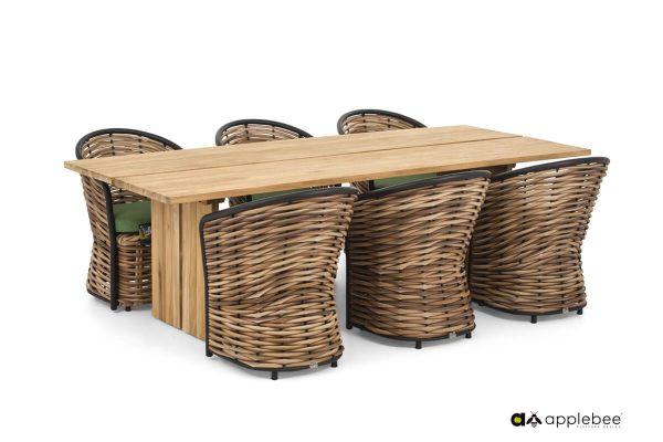 Cocoon ekskluzywny zestaw obiadowy z technorattanu stół i 6 krzeseł ogrodowych | Apple Bee