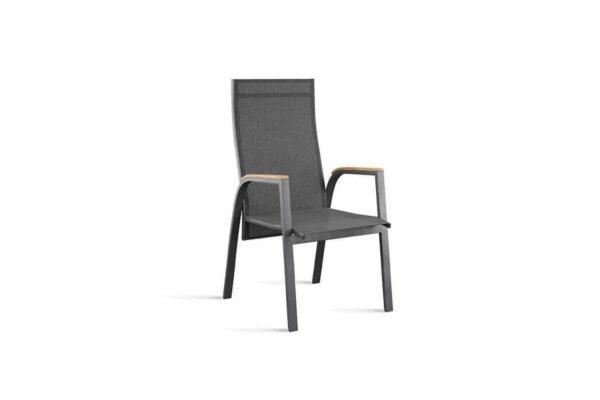 Alicante nowoczesne krzesło ogrodowe z regulacją oparcia kolor antracytowy podłokietniki teak Zumm