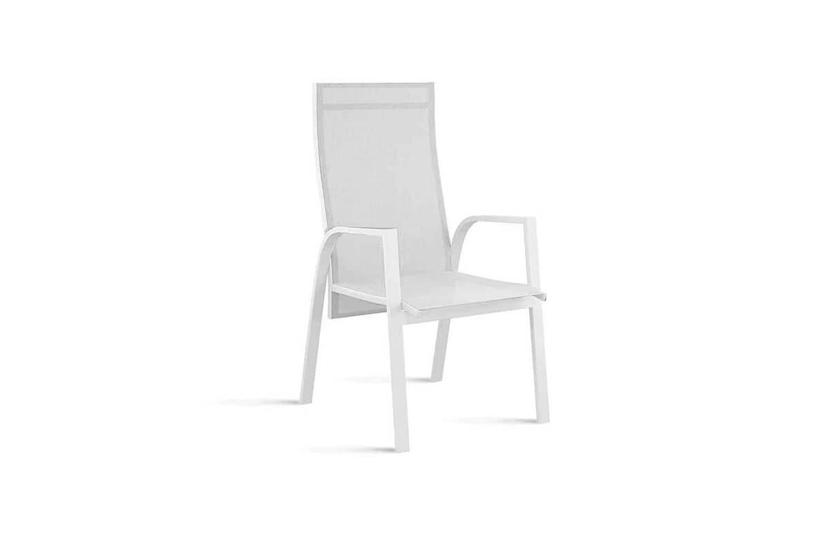 Alicante nowoczesne krzesło ogrodowe z regulacją oparcia kolor biały Zumm