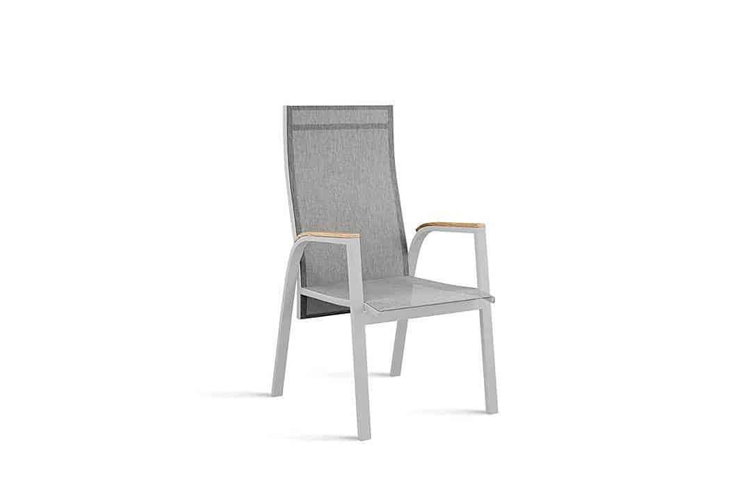 Alicante nowoczesne krzesło ogrodowe z regulacją oparcia kolor szary podłokietniki teak Zumm