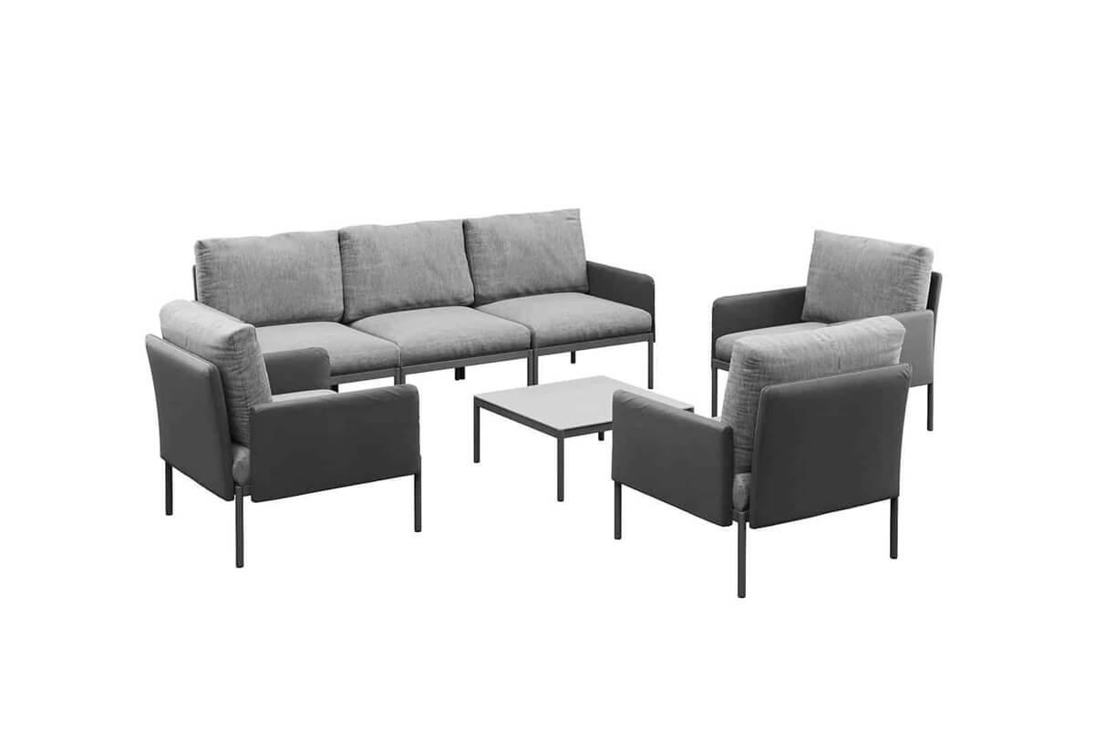 Arona 1 funkcjonalny zestaw mebli ogrodowych modułowa sofa fotele ogrodowe stolik kolor antracytowy Zumm