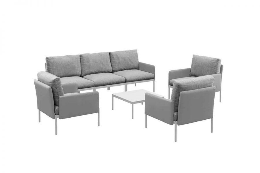Arona 1 funkcjonalny zestaw mebli ogrodowych modułowa sofa fotele ogrodowe stolik kolor szary Zumm