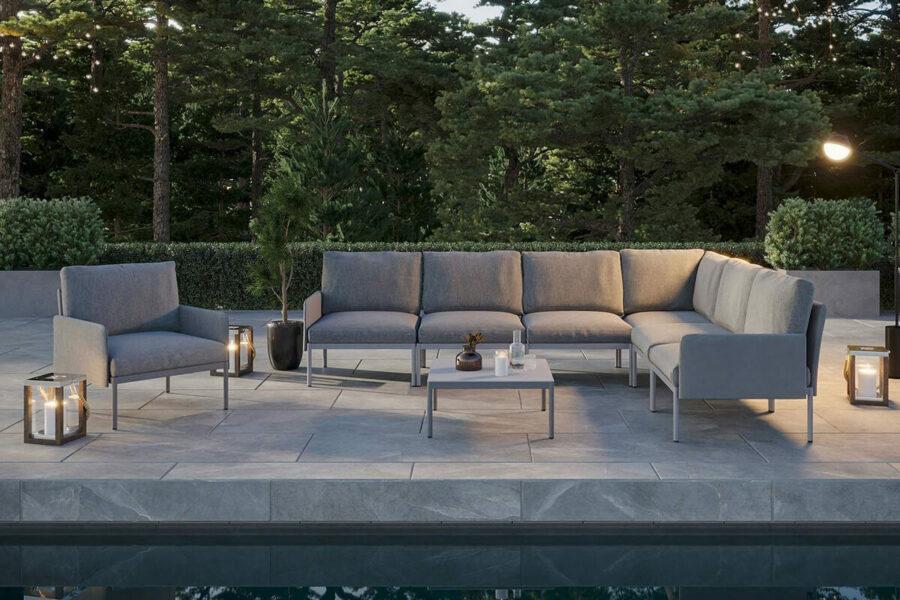 Arona 1 funkcjonalny zestaw mebli ogrodowych modułowych stolik kawowy kwadratowy fotele ogrodowe kolor szary Zumm luksusowe meble ogrodowe aluminiowe