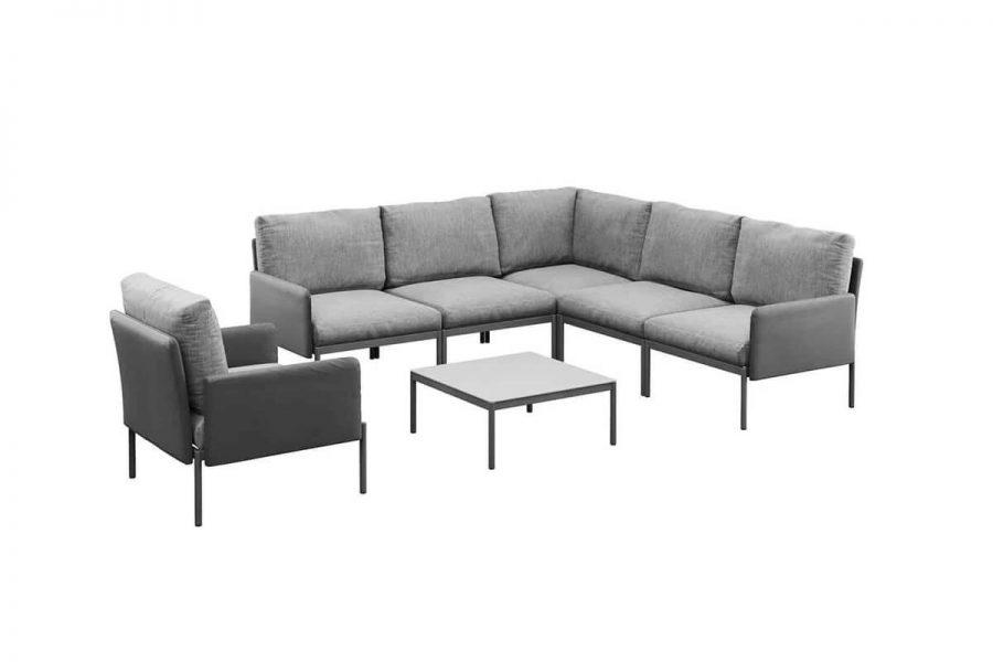 Arona 1 funkcjonalny zestaw mebli ogrodowych narożnik ogrodowy fotel ogrodowy stolik kolor antracytowy Zumm
