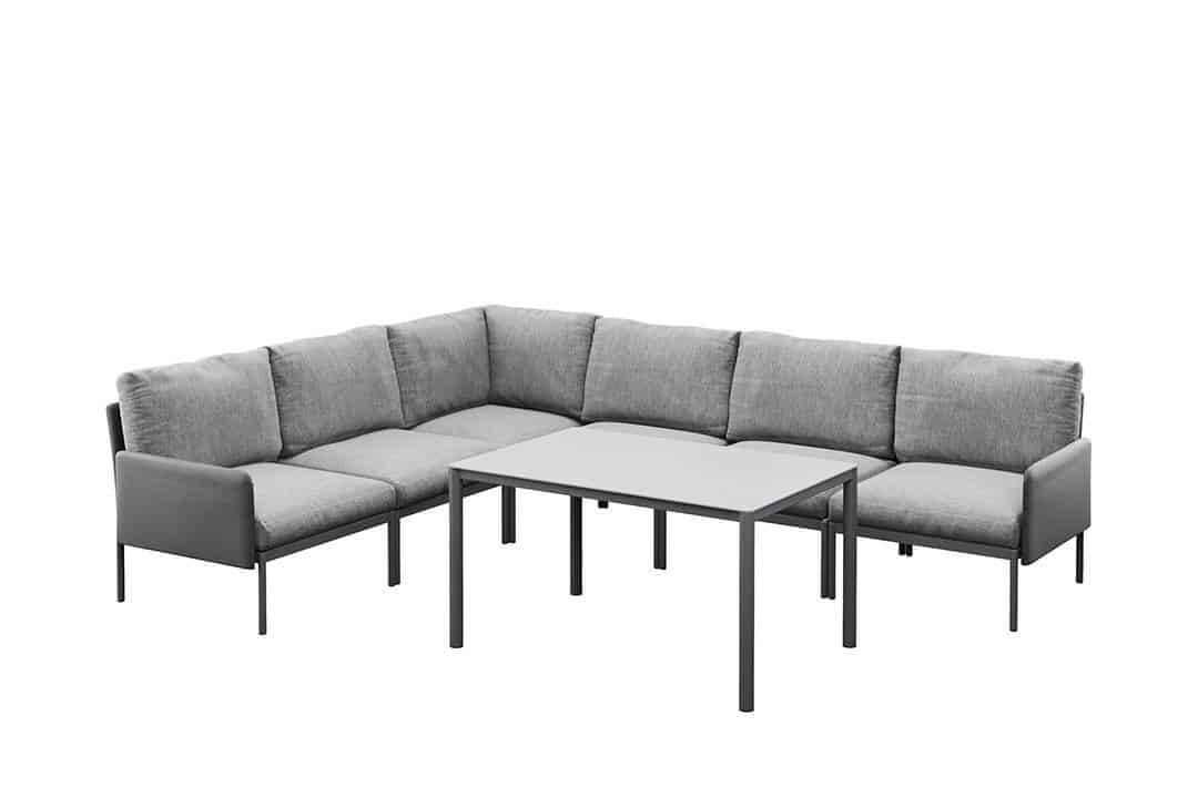 Arona 2 zestaw mebli ogrodowych z wysokim stolikiem meble modułowe aluminium antracytowe narożnik ogrodowy Zumm
