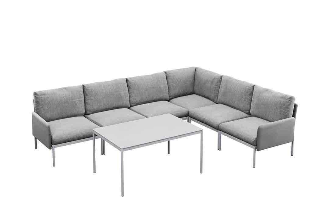 Arona 2 zestaw mebli ogrodowych z wysokim stolikiem meble modułowe aluminium szare narożnik ogrodowy Zumm