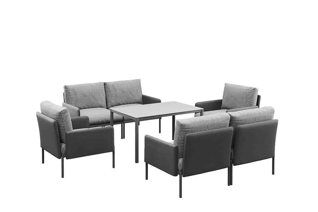 Arona 2 zestaw mebli ogrodowych z wysokim stolikiem meble modułowe aluminium antracyt sofa fotele ogrodowe Zumm
