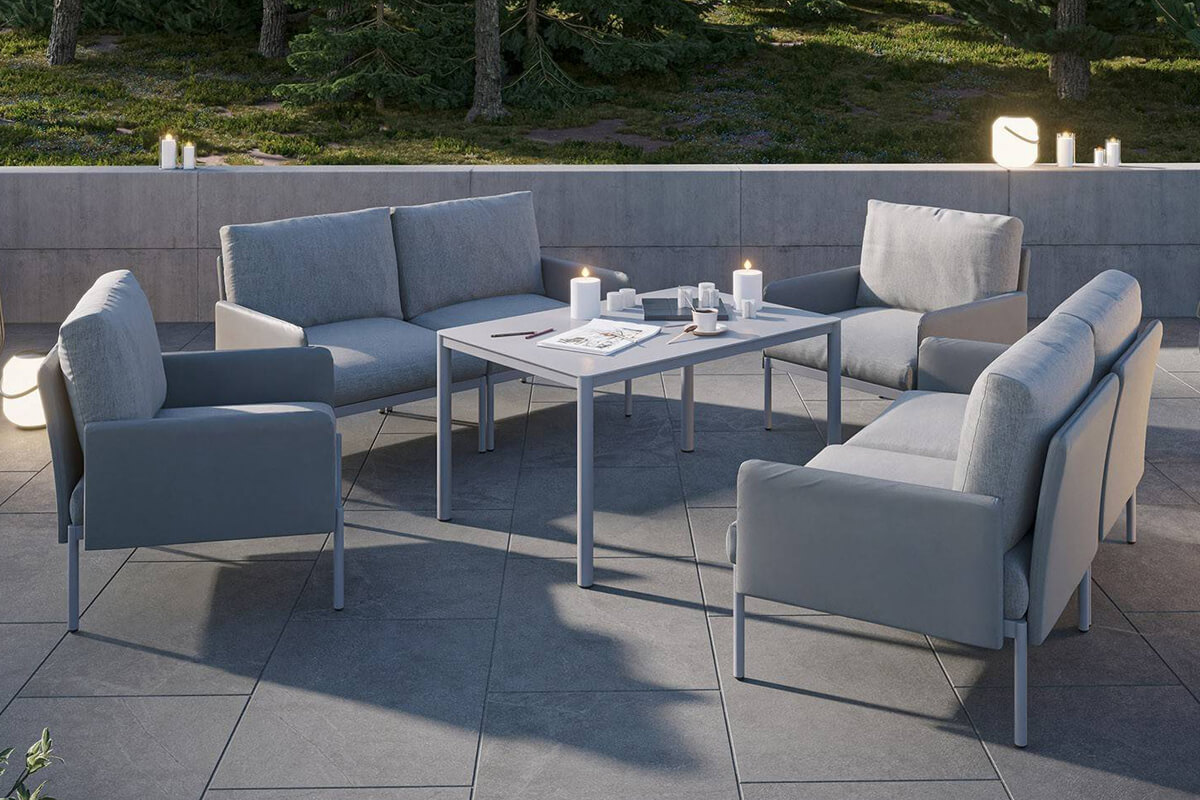 Arona 2 zestaw mebli ogrodowych z wysokim stolikiem meble modułowe aluminiowe sofa fotele ogrodowe kolor szary Zumm Twoja Siesta nowoczesne meble ogrodowe