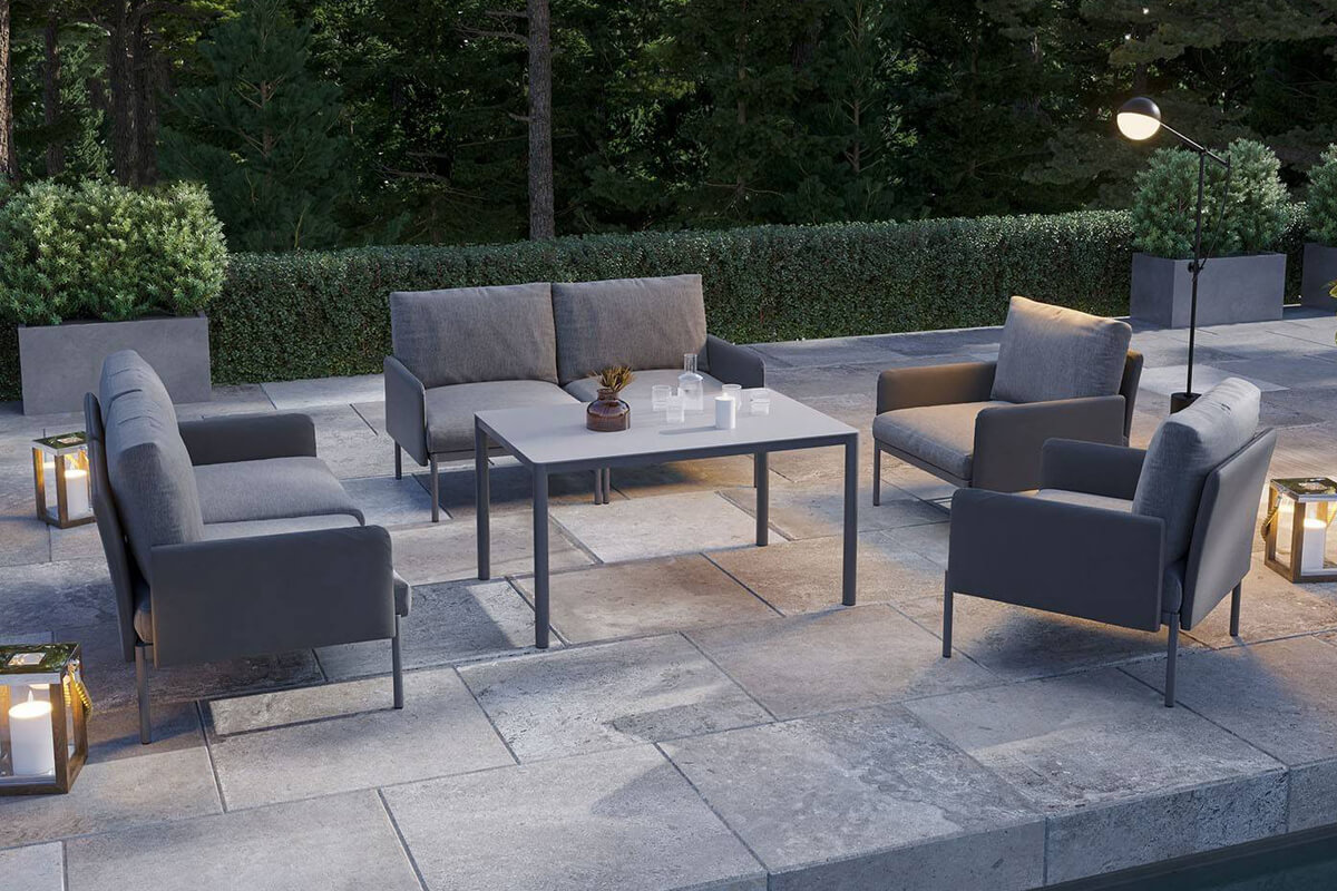 Arona 2 zestaw mebli ogrodowych z wysokim stolikiem sofa fotele ogrodowe kolor antracytowy meble modułowe aluminiowe Zumm Twoja Siesta nowoczesne meble ogrodowe