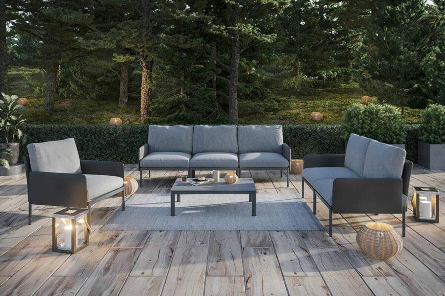 Arona 3 zestaw ogrodowy modułowy aluminium kolor antracytowy sofa ogrodowa fotel stolik kawowy prostokątny Zumm nowoczesne meble ogrodowe