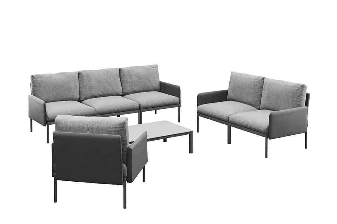 Arona 3 zestaw wypoczynkowy modułowy aluminium kolor antracytowy sofa ogrodowa fotel ogrodowy stolik kawowy Zumm