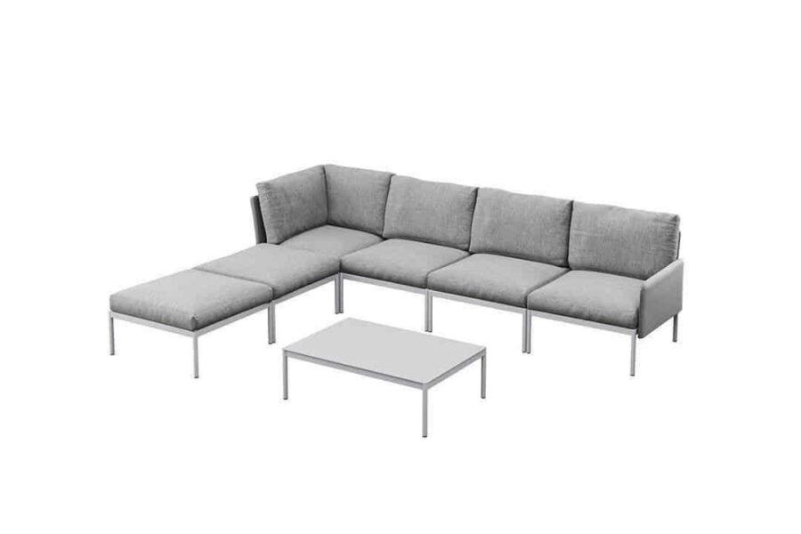 Arona 3 zestaw wypoczynkowy modułowy aluminium kolor szary narożnik ogrodowy stolik kawowy Zumm