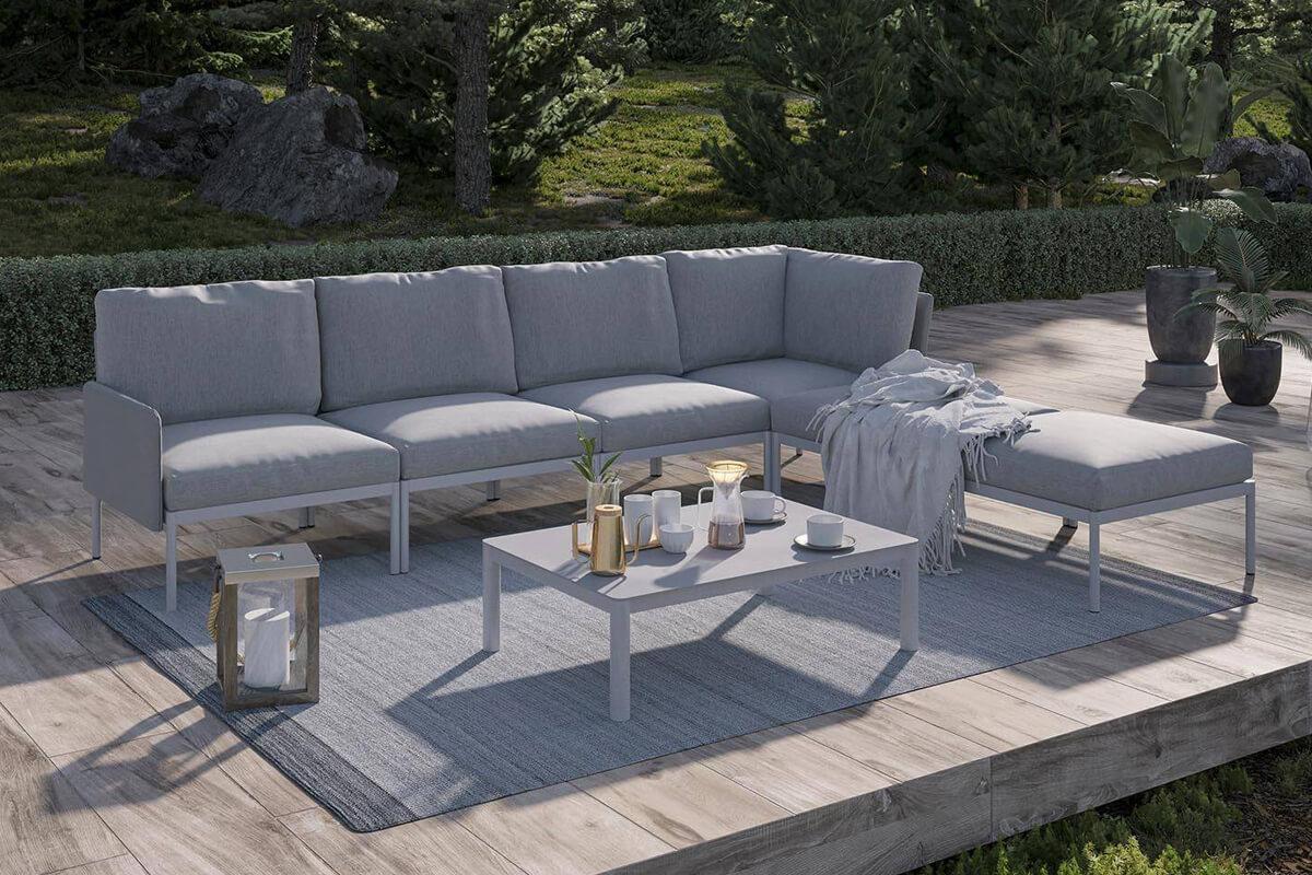 Arona 3 zestaw ogrodowy modułowy aluminium kolor szary sofa ogrodowa fotel stolik kawowy prostokątny Zumm nowoczesne meble ogrodowe