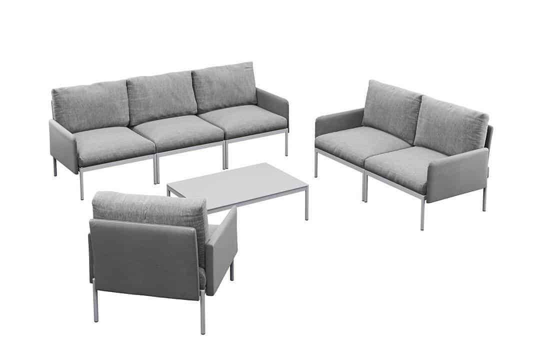 Arona 3 zestaw wypoczynkowy modułowy aluminium kolor szary sofa ogrodowa fotel ogrodowy stolik kawowy Zumm