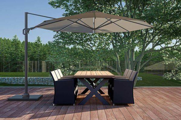 Bilbao Merida zestaw stołowy ogrodowy aluminium teak kolor antracytowy stół 6 krzeseł ogrodowych Zumm