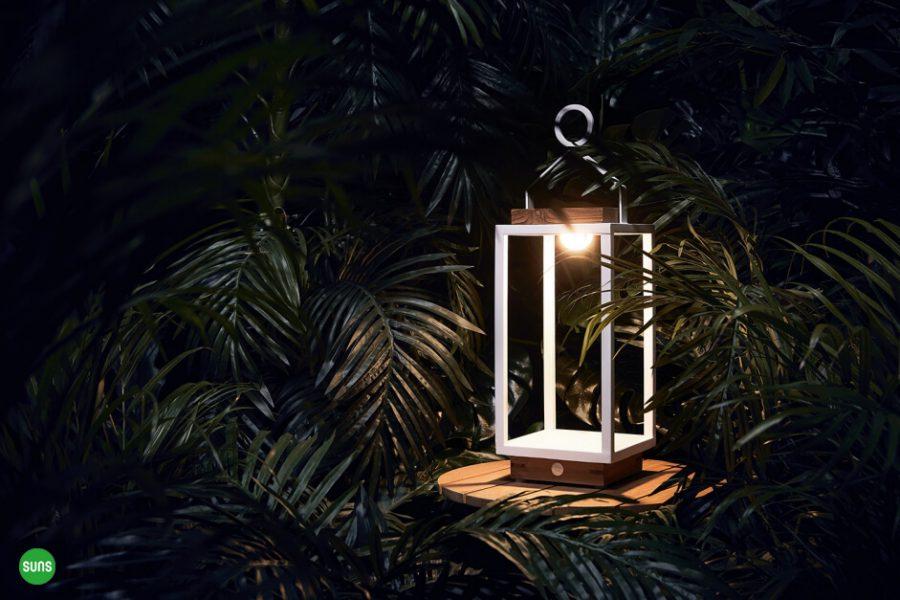 Coco solarne lampy ogrodowe ze stali nierdzewnej drewna teakowego SUNS