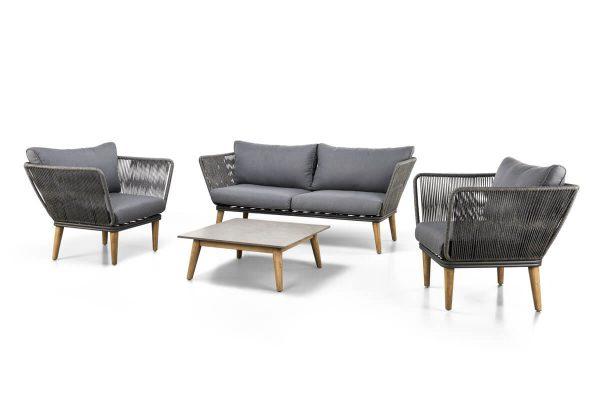Corfu 3 elegancki zestaw wypoczynkowy do ogrodu sofa fotel stolik ogrodowy SUNS
