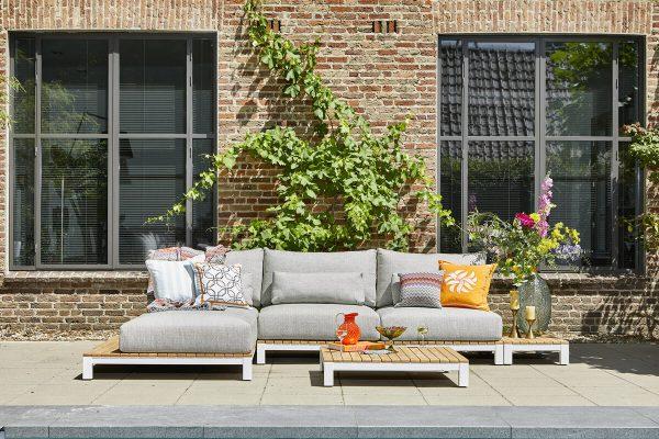 Evora 1 narożnik ogrodowy aluminium drewno teakowe białe aluminium poduszki Sunproof SUNS