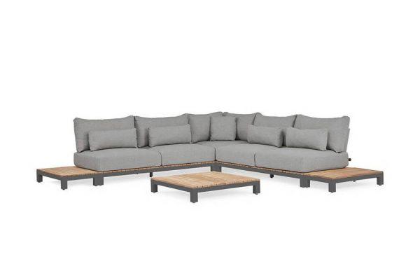 Evora 2 narożnik ogrodowy aluminium drewno teakowe antracytowe aluminium poduszki sunproof SUNS