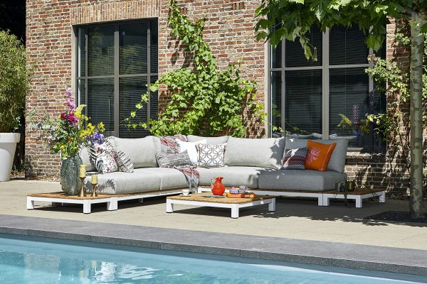 Evora 2 narożnik ogrodowy aluminium drewno teakowe białe aluminium poduszki sunproof SUNS