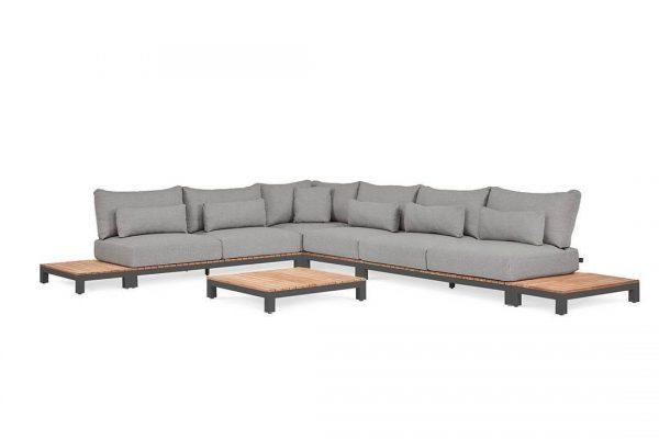 Evora 3 duży narożnik do ogrodu aluminium drewno teakowe antracytowy tapicerka sunproof Suns