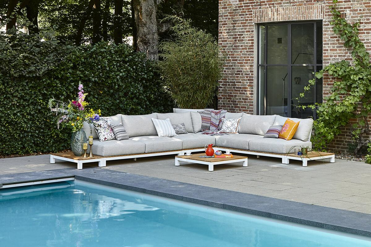 Evora 3 duży narożnik do ogrodu aluminium drewno teakowe białe aluminium tapicerka sunproof jasnoszara SUNS