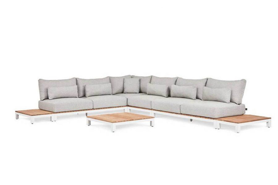 Evora 3 duży narożnik do ogrodu aluminium drewno teakowe biały tapicerka sunproof Suns