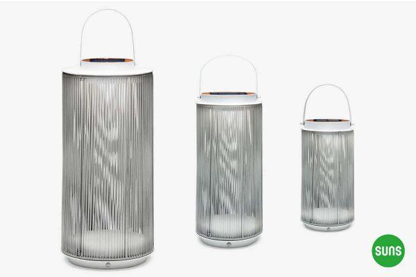 Fay nowoczesne lampy solarne ogrodowe aluminium lina - biała podstawa XL M S SUNS