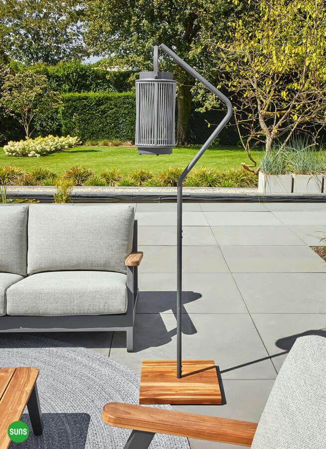 Fay nowoczesne lampy ogrodowe aluminium lina biała stojak Ivy antracytowy SUNS