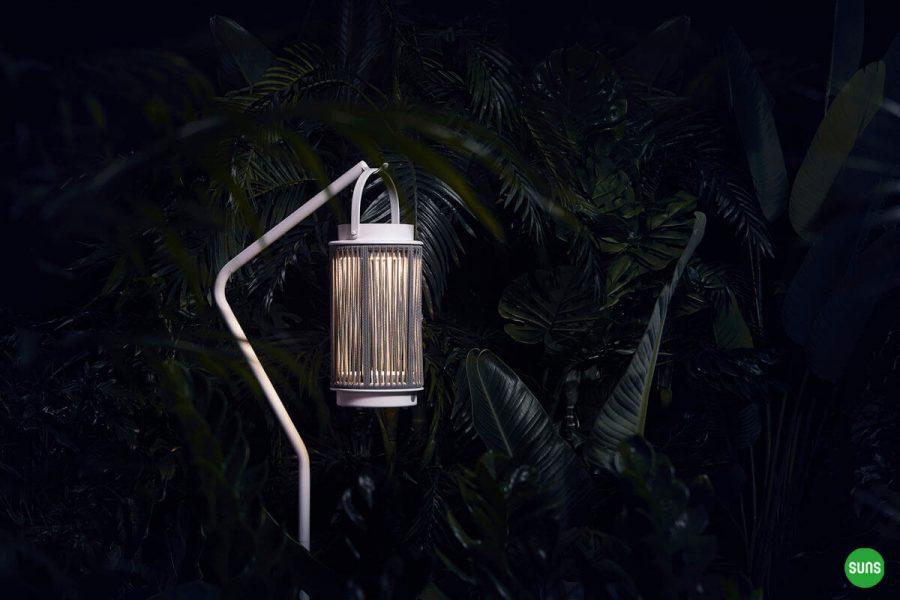 Fay nowoczesne lampy solarne ogrodowe aluminium lina biała stojak Ivy SUNS