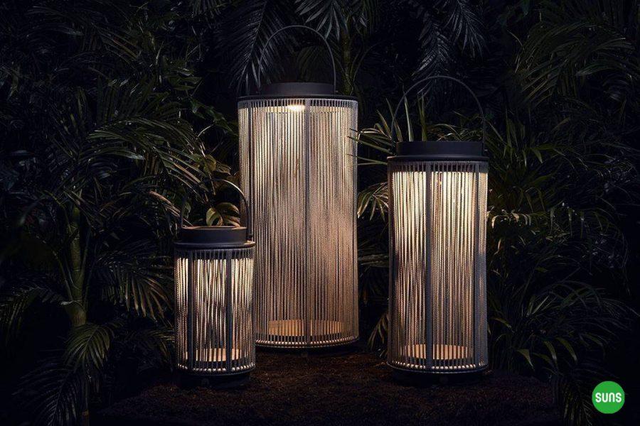 Fay nowoczesne lampy solarne ogrodowe aluminium lina rozmiary XL M S SUNS